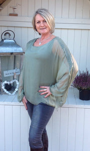 Naples Silk & Sequin Top in Green - Feathers Of Italy