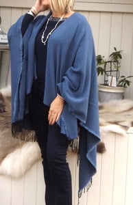Hatch Stitch Wrap Cape in Navy - Feathers Of Italy