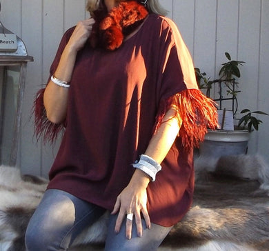 Orciano Pisano Ostrich Trim Top in Ruby Made In Italy By Feathers Of Italy One Size - Feathers Of Italy