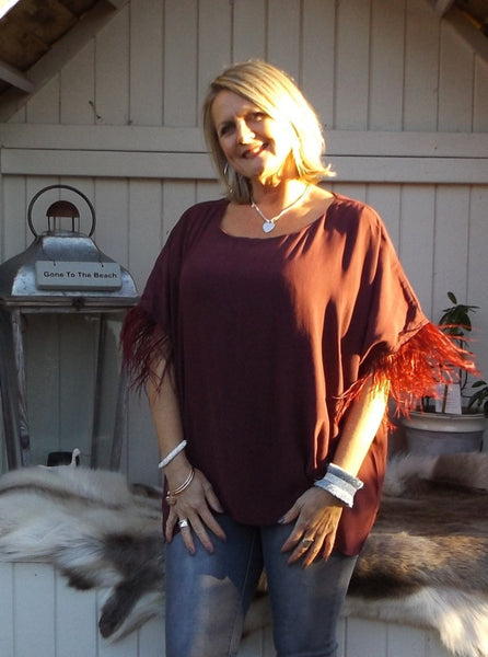 Orciano Pisano Ostrich Top in Ruby - Feathers Of Italy