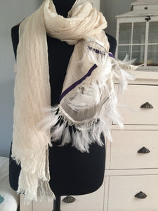 Ostrich Feather Scarf with Purple Trim - Feathers Of Italy