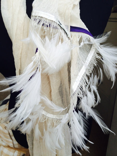 Ostrich Feather Scarf with Purple Trim