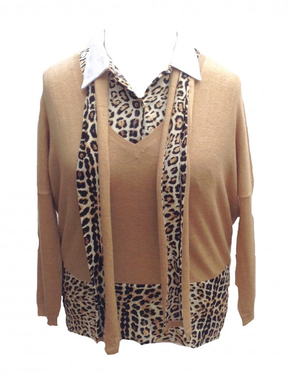 Oui De Mai 3 Piece Top Set in Leopard - Feathers Of Italy