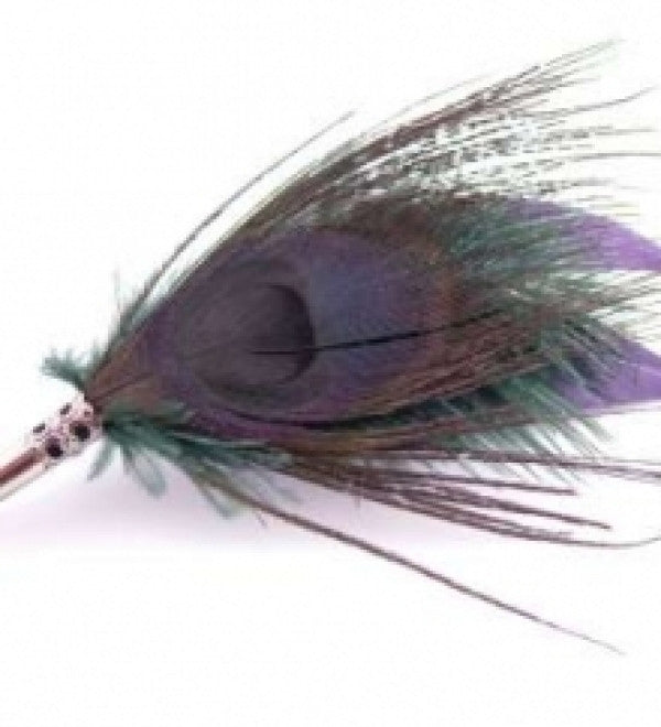 Peacock Feather Brooch/Hat Pin in Purple & Bottle Green - Feathers Of Italy