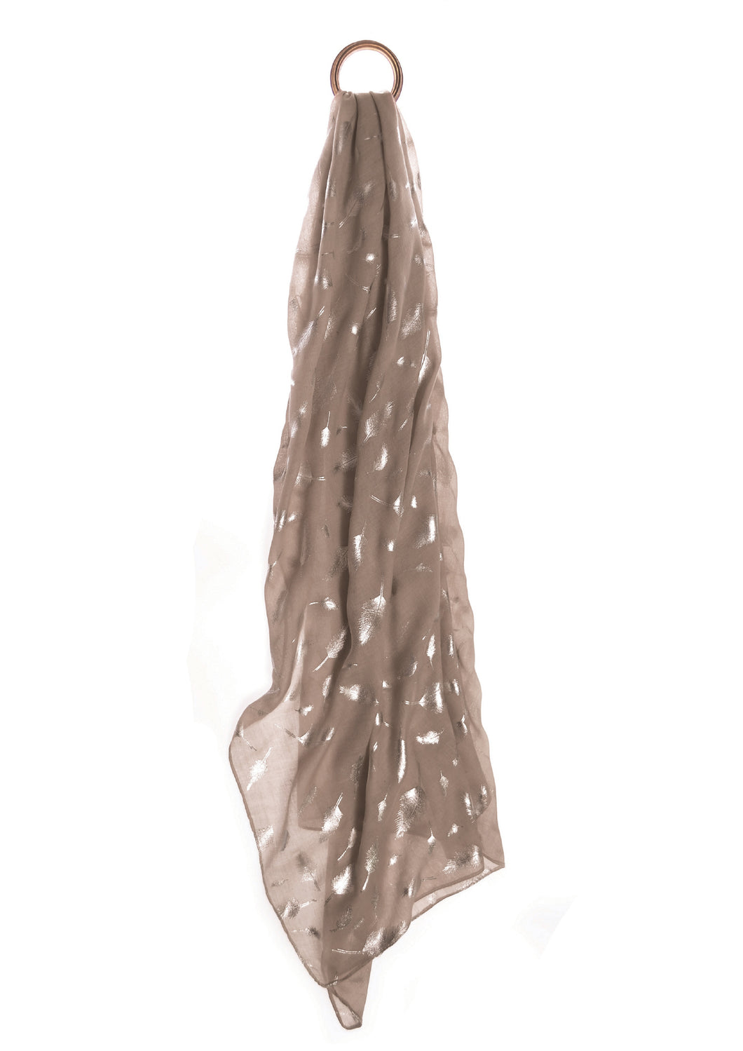 Limited Edition Catch A Feather Scarf -  Nude/Silver - Feathers Of Italy