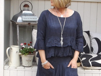 Raffadali Linen Top in Navy Made In Italy By Feathers Of Italy One Size - Feathers Of Italy
