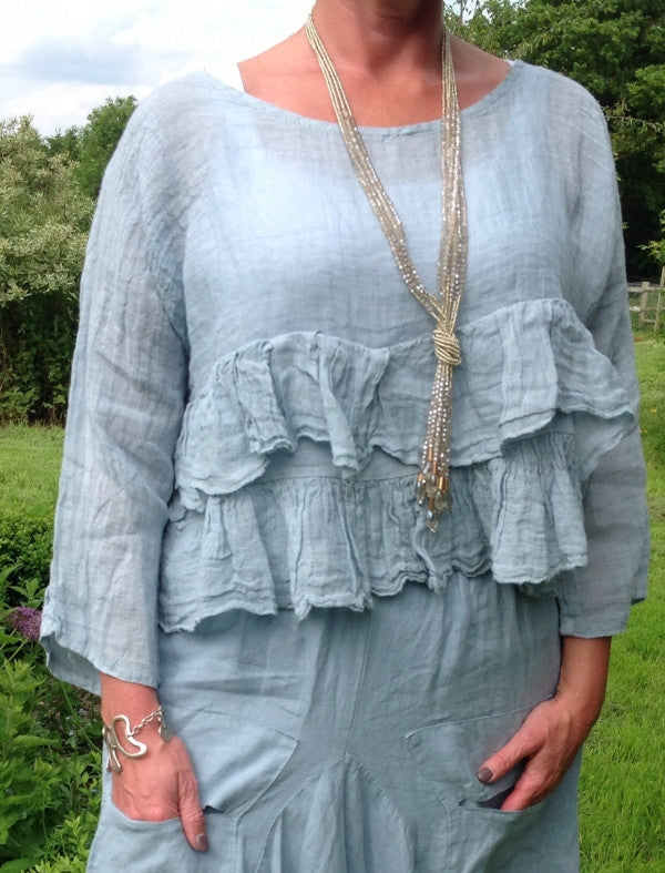 Raffadali Linen Top in Powder Blue Made In Italy By Feathers Of Italy One Size - Feathers Of Italy
