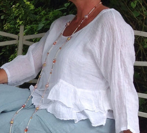 Raffadali Linen Top in White Made In Italy By Feathers Of Italy One Size