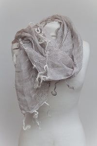 Raggy Linen Scarf in Dusky Pink - Feathers Of Italy