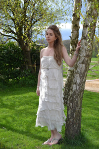 Raggi Silk Edged Skirt/Dress in Vanilla - Feathers Of Italy