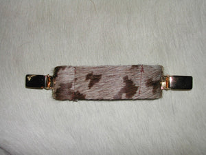 Ruchie Clip in Brown & Chocolate Hide - Feathers Of Italy