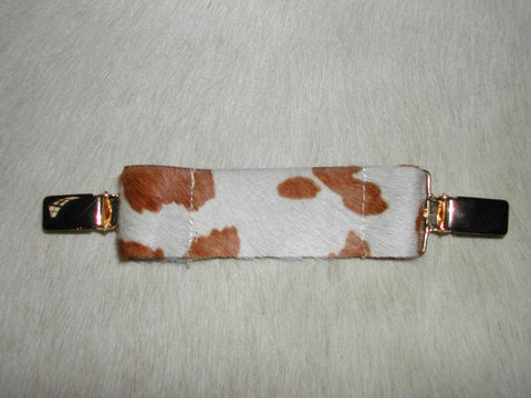 Ruchie Clip in Brown & White Hide - Feathers Of Italy