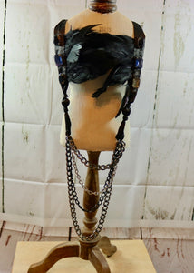 Black Feather Jewelled Chain and Satin Tied Detailed Long Statement Piece Necklace - By Feathers Of Italy - Feathers Of Italy