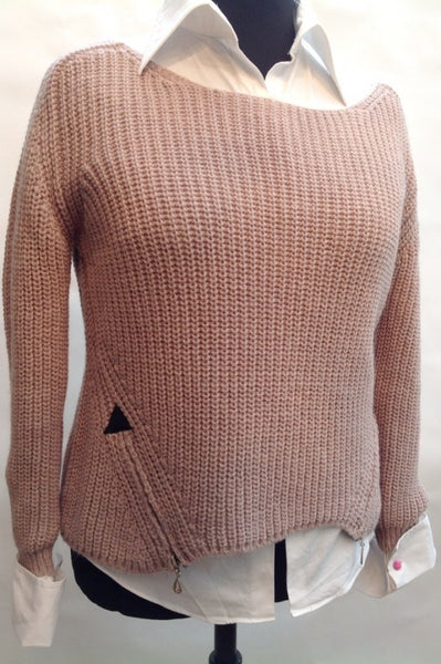 San Niccolo Alpaca Zip Jumper in Dusky Pink - Feathers Of Italy