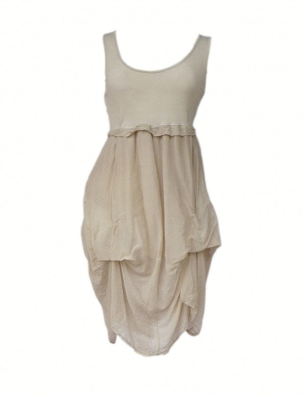 Sicily Jersey Sun Dress in Stone - Feathers Of Italy