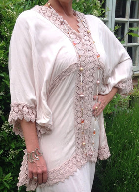 Sienna Lace Cotton Kimono in Pink Made In Italy By Feathers Of Italy One Size - Feathers Of Italy