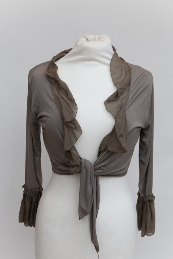 Silk Edged Tie Front Wrap in Mocha - Feathers Of Italy