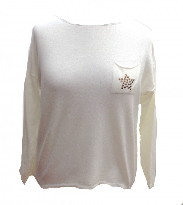 Soft Knit Stud Star Jumper in Cream - Feathers Of Italy