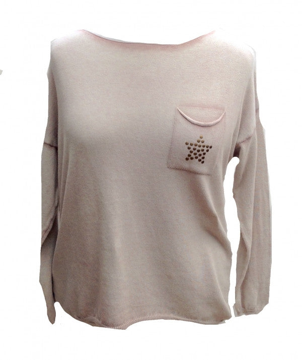 Soft Knit Stud Star Jumper in Pink - Feathers Of Italy