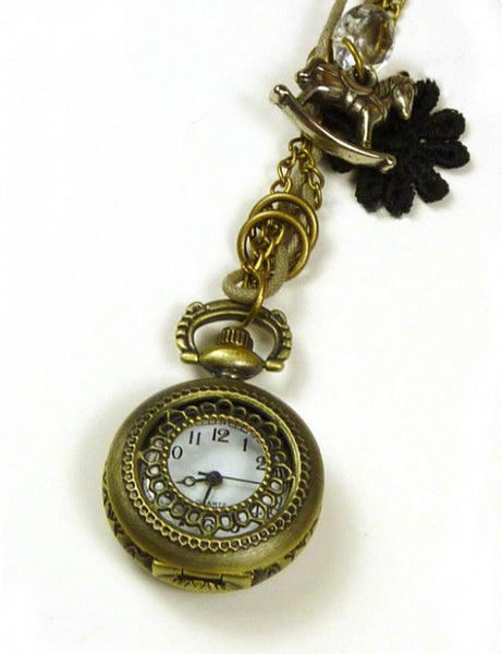 Steampunk Pendant Necklace - Clock - Feathers Of Italy