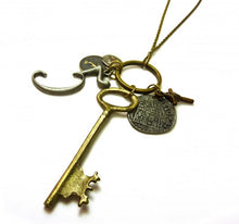 Load image into Gallery viewer, Steampunk Pendant Necklace - Key - Feathers Of Italy
