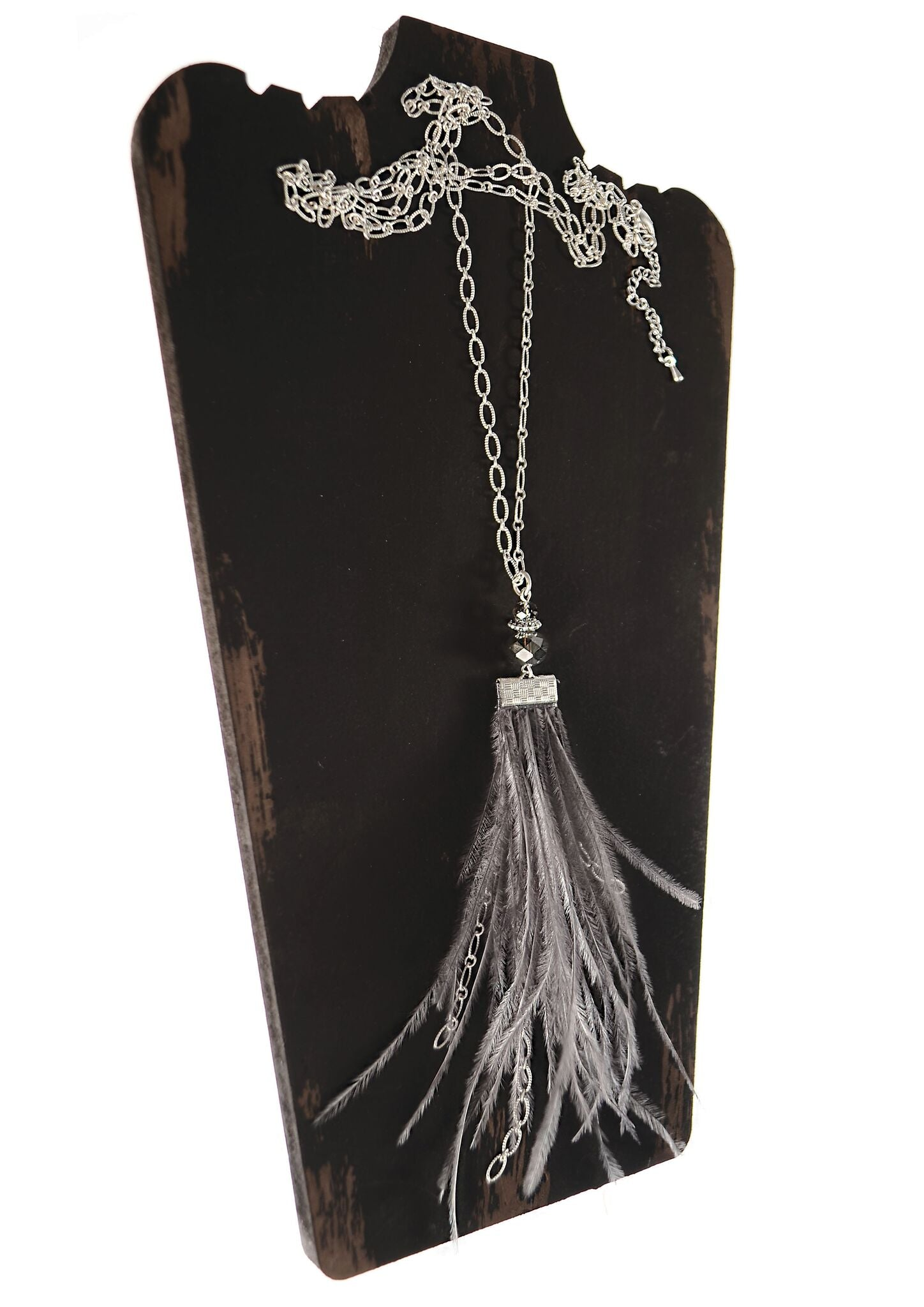 Forever Feathers - Worn Silver / Smoke Feather Pendant Necklace - Feathers Of Italy