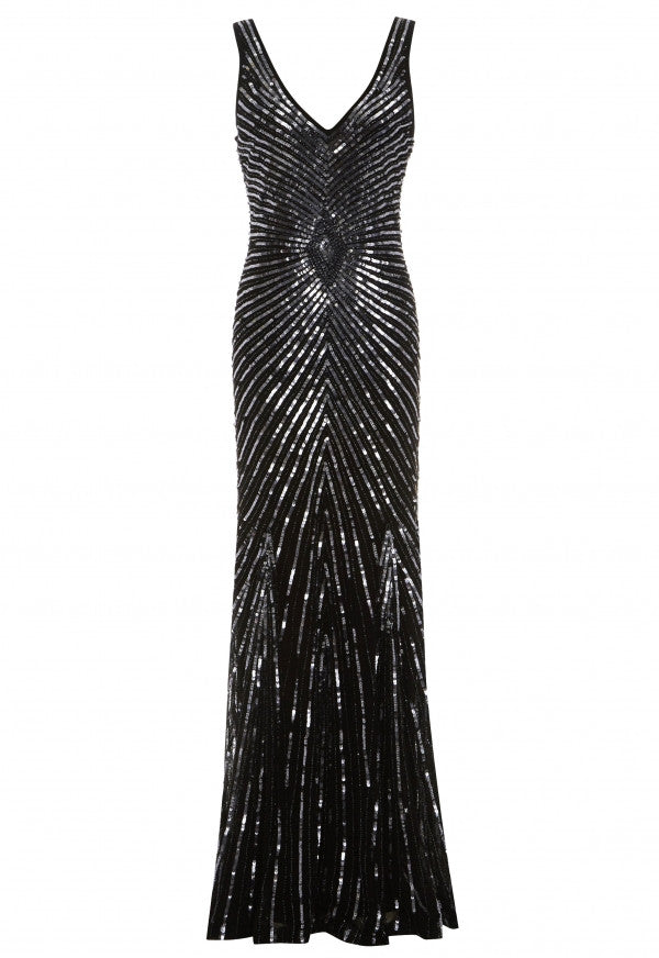 LBD Lily Beaded Dress in Black - Feathers Of Italy