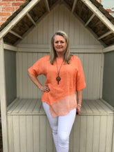 Load image into Gallery viewer, Silk layer Linen Top in Orange Made in Italy by Feathers Of Italy One Size - Feathers Of Italy