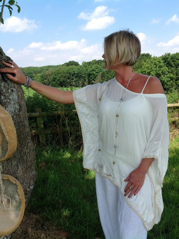 Vintage Silk Top in Vanilla - Feathers Of Italy
