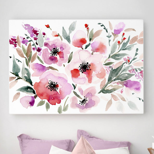 Watercolour Red Roses Stretched Canvas Print