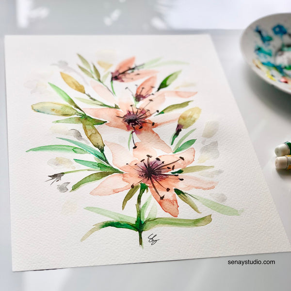 Senay Design Studio Lily watercolor painting