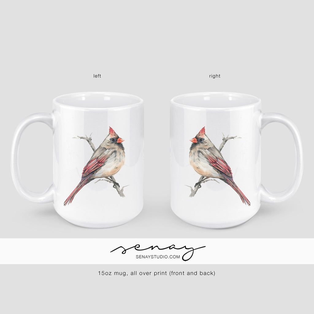 Female Cardinal Bird mug