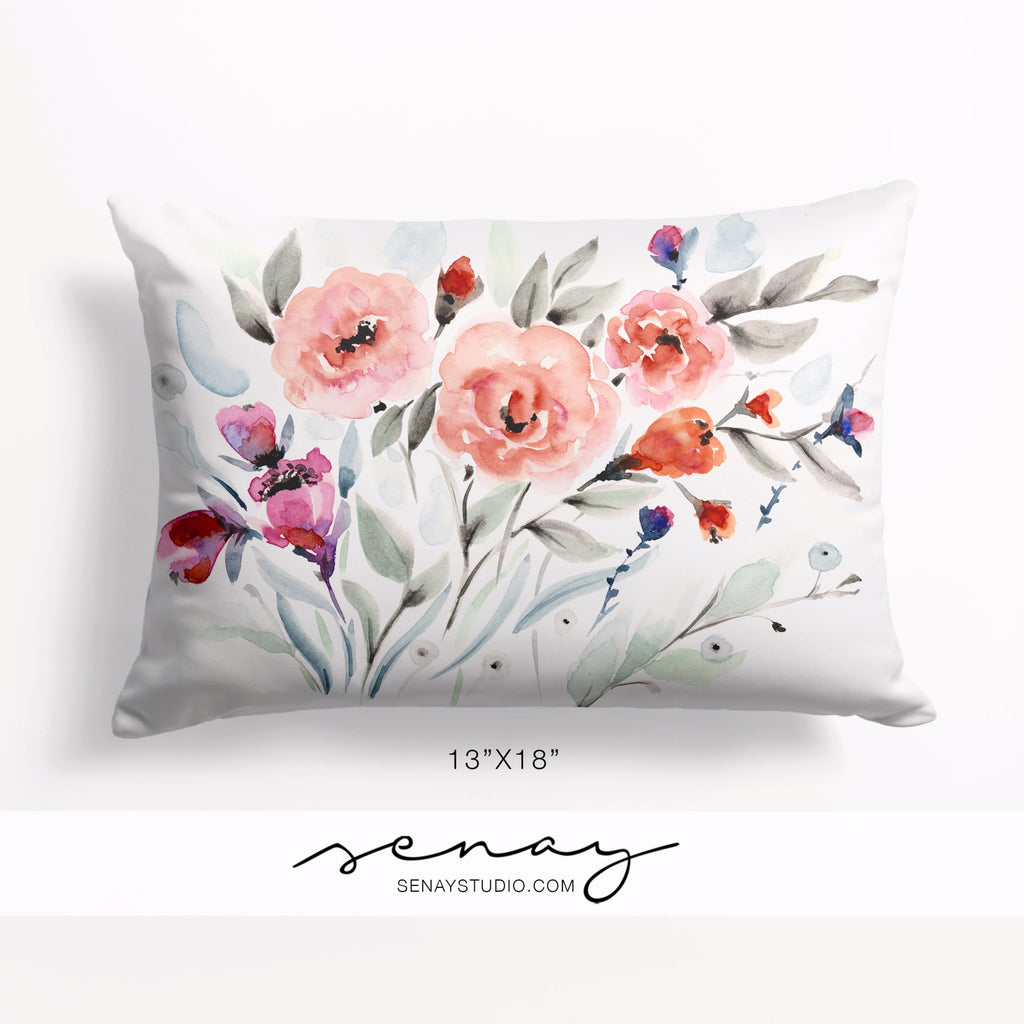 Amy watercolour pillow design by Senay Design Studio