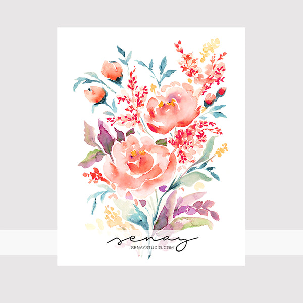 Coral Rose giclée watercolour paper