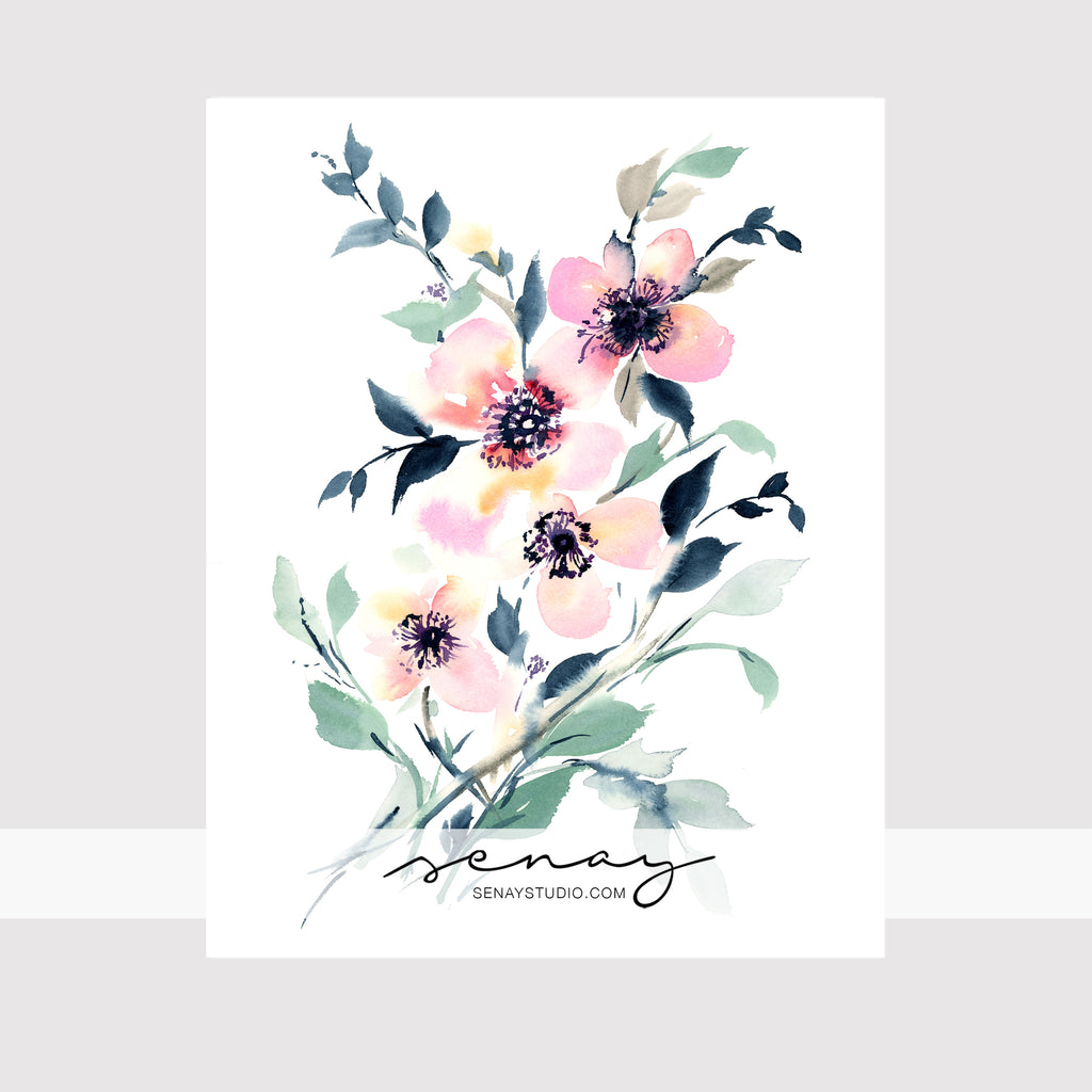 Beautiful loose watercolour print by Senay Design Studio