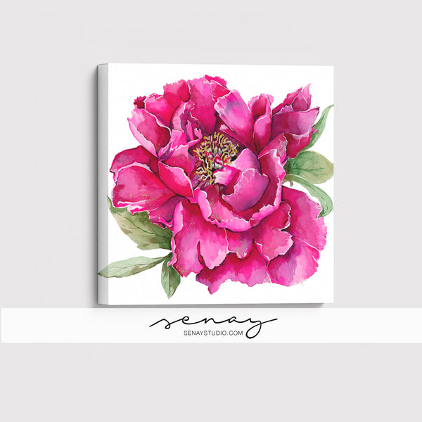 Peony Flower giclée canvas (READY TO HANG)