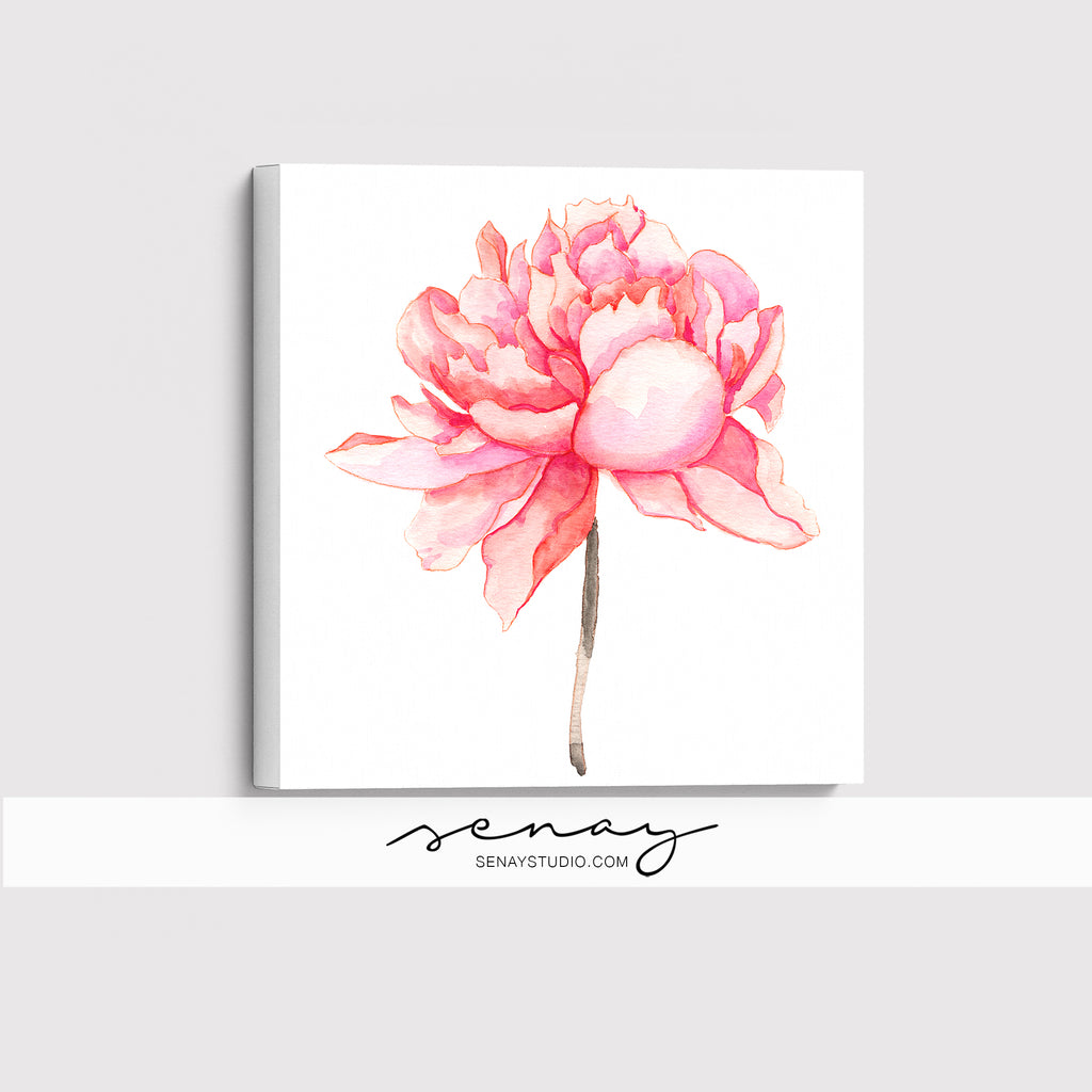Pink Peony giclée canvas (READY TO HANG)