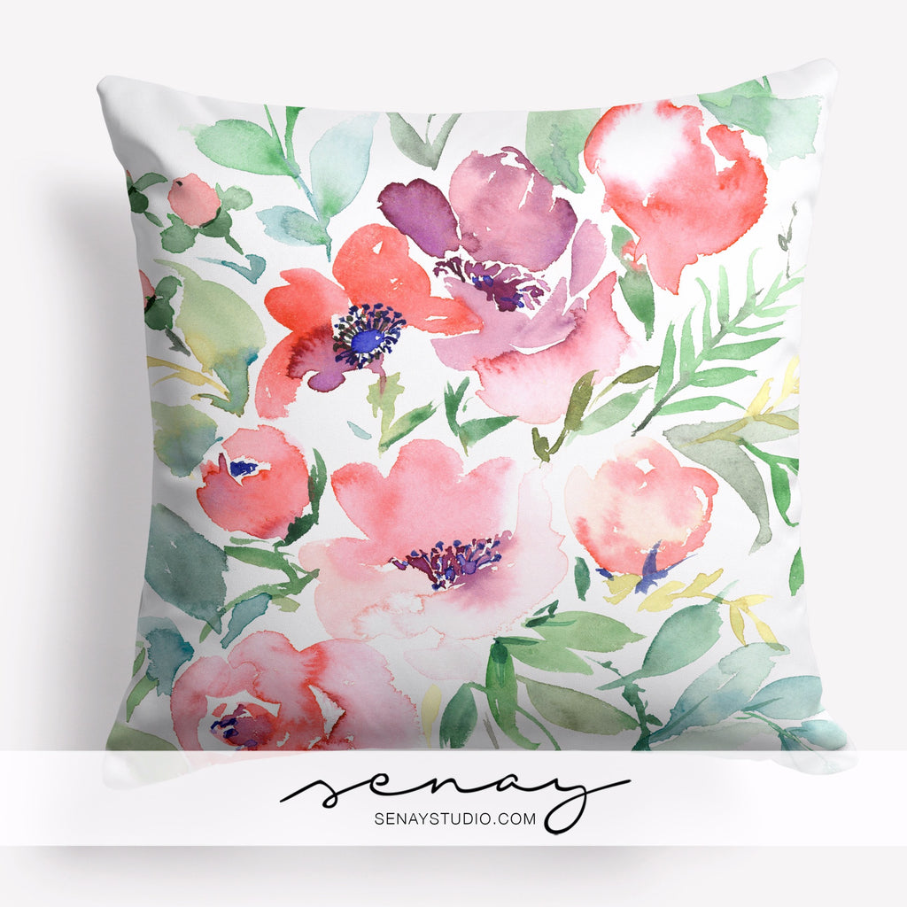 Beautiful watercolour floral pillow cover by Senay Design Studio