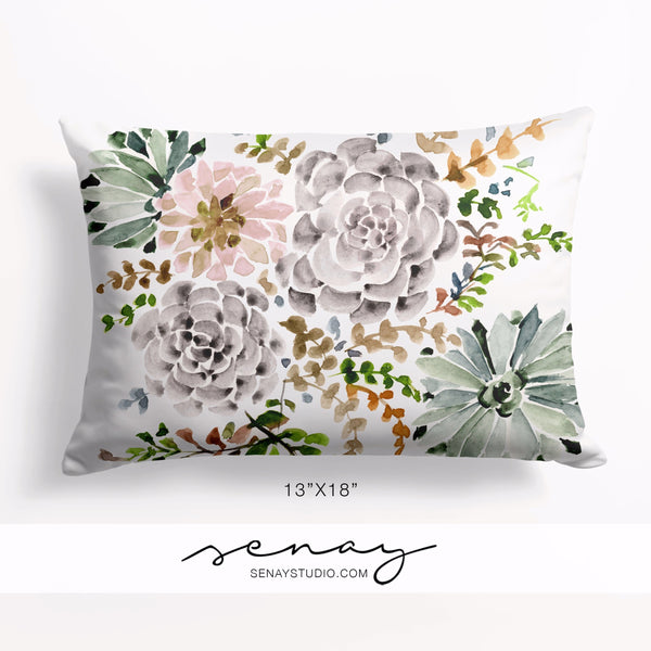 Succulent Garden pillow cover by Senay Design Studio