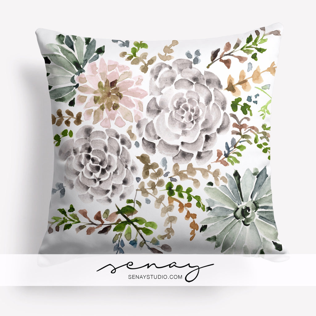 beautiful succulent garden decorative pillow cover by Senay Design Studio