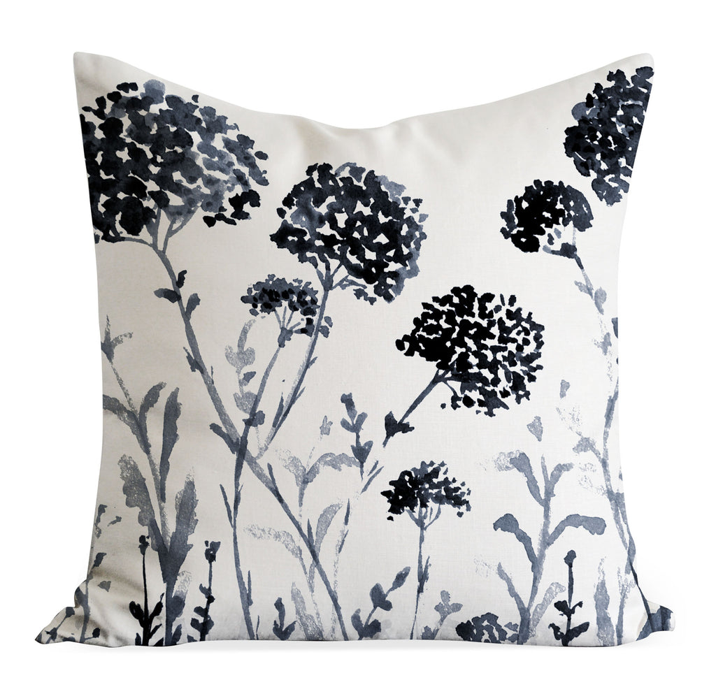 Black Floral Cushion Cover, Wildflower pillow cover - Senay Design Studio