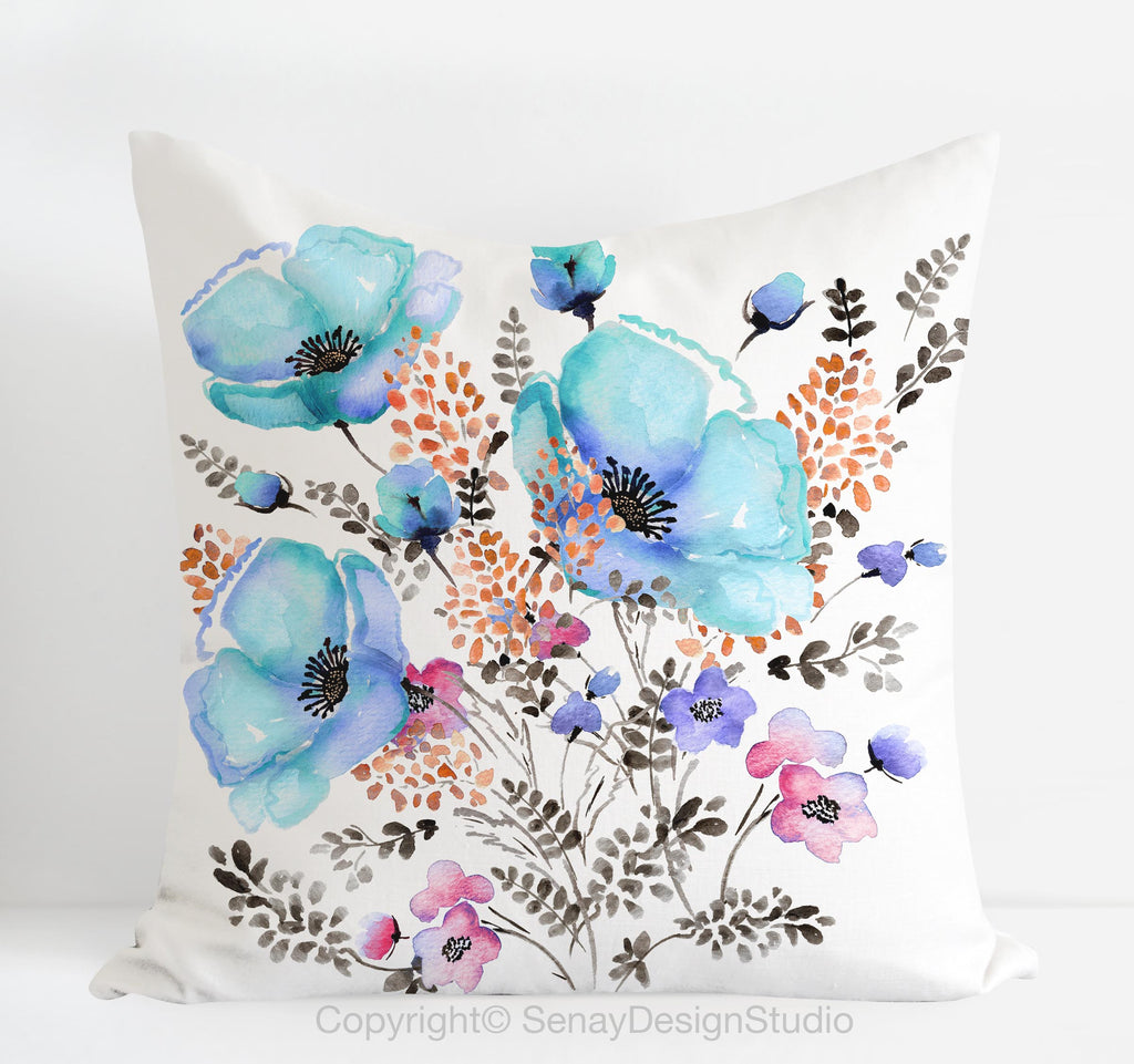 "Square Throw Pillow Cover 16""x16"" Blue Poppy - Senay Design Studio"