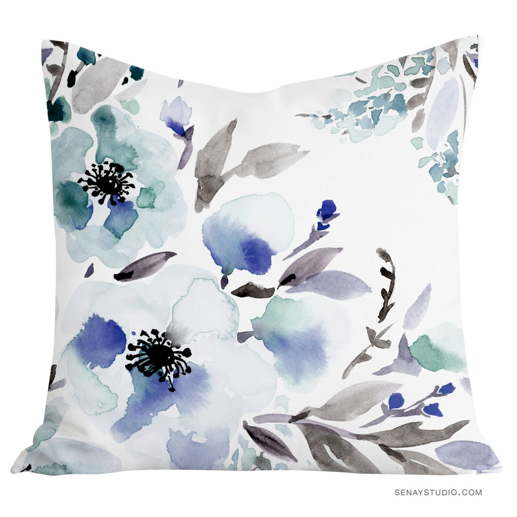 Dreamy Blue Throw Pillow Cover - Senay Design Studio