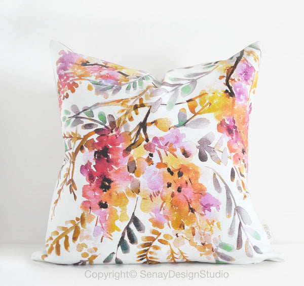 Golden Wisteria throw pillow cover - Senay Design Studio