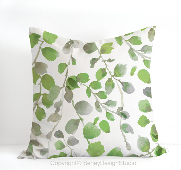 Green Leaves throw pillow cover - Senay Design Studio