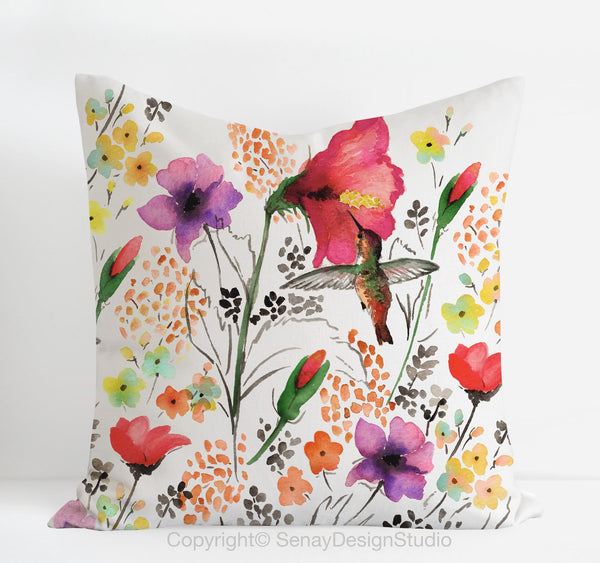 Hummingbird toss pillow cover - Senay Design Studio