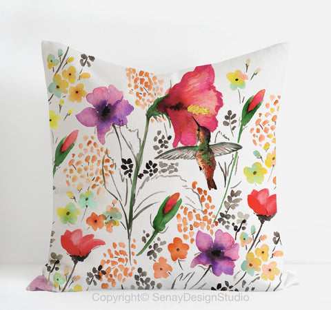 Hummingbird pillow cover - Senay Design Studio