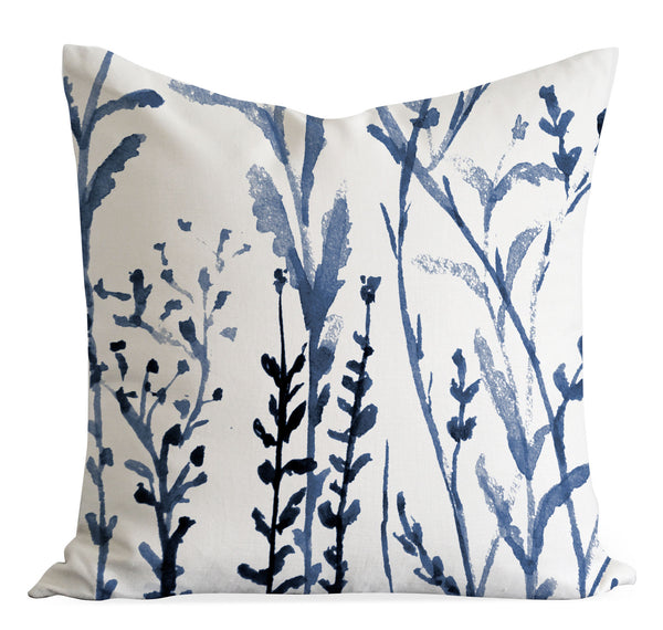 Indigo Meadow pillow cover - Senay Design Studio