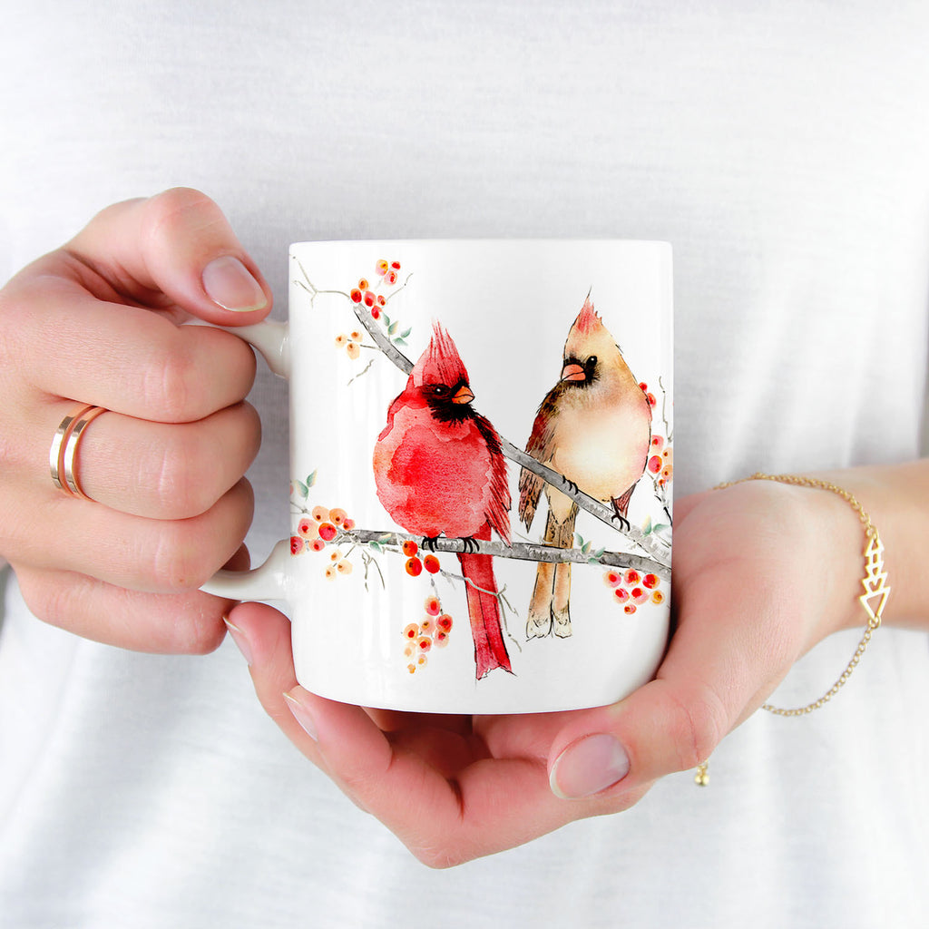 Cardinal Birds watercolour art, ceramic mug by Senay Design Studio, perfect gift item