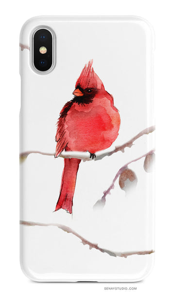 Red Cardinal cell phone case - Senay Design Studio